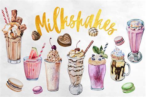 watercolor milkshakes clipart set illustrations