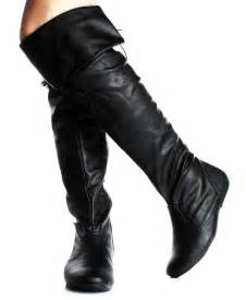 womens flat leather boots canada the knee high boots flat heels lace back fux leather shoes