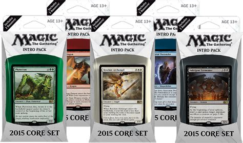 Mtg Premade Decks 2015 by Magic 2015 M15 Set Intro Pack Decklists By