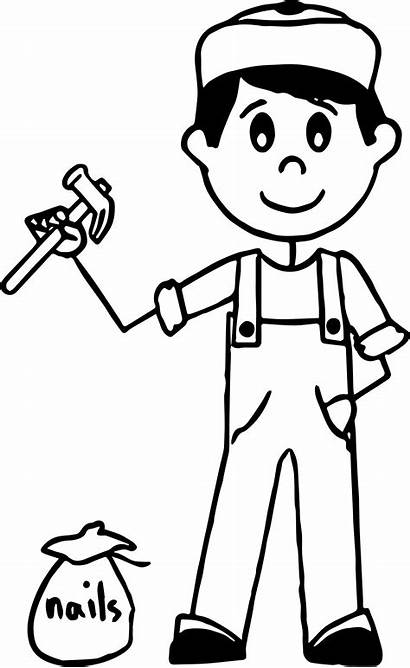Carpenter Coloring Nails Boy Pages Wecoloringpage