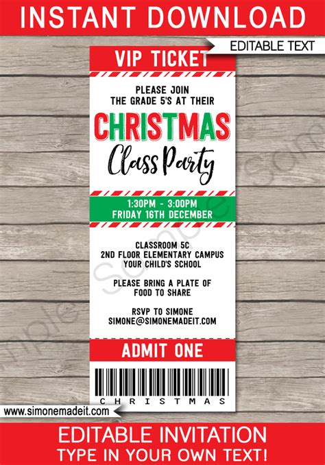 christmas party ticket invitations template christmas