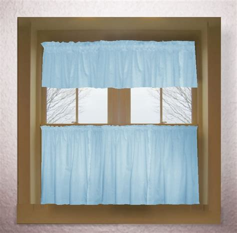 Blue Kitchen Valance by Light Baby Blue Color Tier Kitchen Curtain Two Panel Set