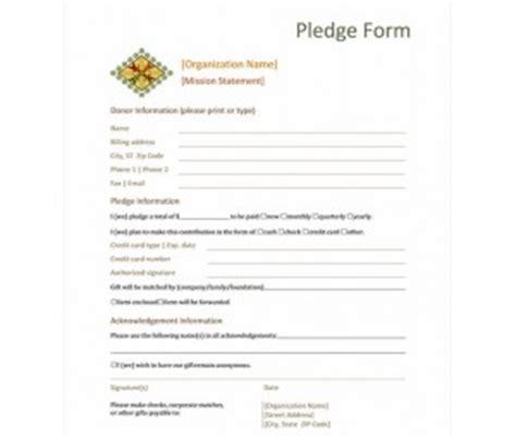 pledge card template donation pledge form template word templates