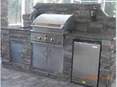 Exterior Inspiring Grey Outdoor Kitchen Barbeque Design