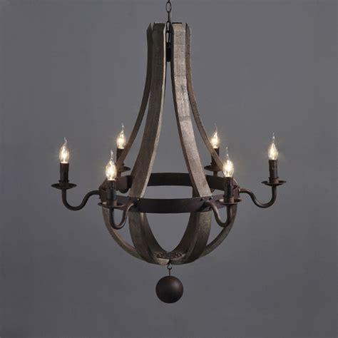 wood and metal chandelier industrial vintage wrought wine barrel wood chandelier 6