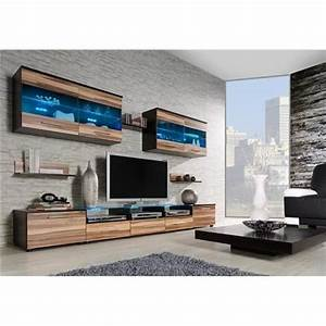 ensemble meubles tv design cimi 1 wenge et bois With composition meuble tv design