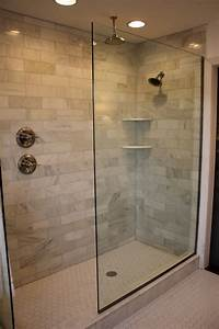 walk in shower pictures Carrera Marble Shower Tiles - Eclectic - bathroom