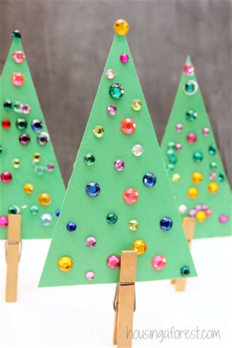 jeweled trees simple christmas tree craft for kids christmas crafts for kids pinterest