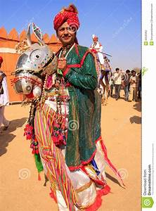 Indian Man In Traditional Dress Taking Part In Desert ...