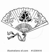 Fan Hand Clipart Drawing Japanese Coloring Pages Illustration Fans Clip Printable Paper Geisha Loopyland Tattoo Royalty Drawings Outline Oriental Illustrationsof sketch template