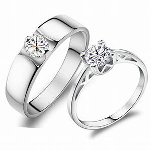 personalized 925 sterling silver wedding couple rings set With silver wedding rings for couples