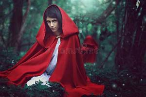 Dark Red Riding Hood In A Surreal Forest Stock Photo ...