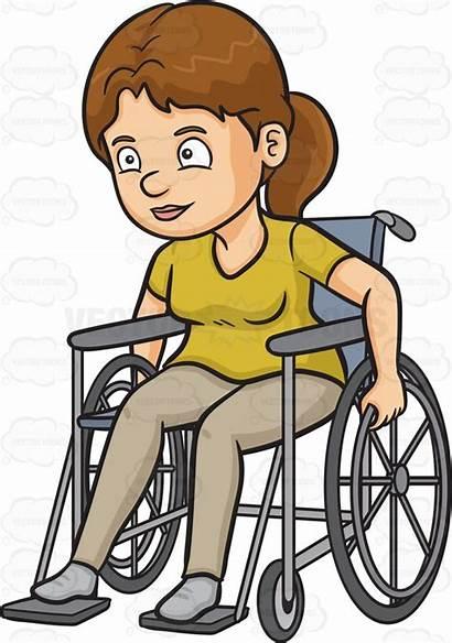 Wheelchair Clipart Woman Crippled Rolling Cartoon Forward