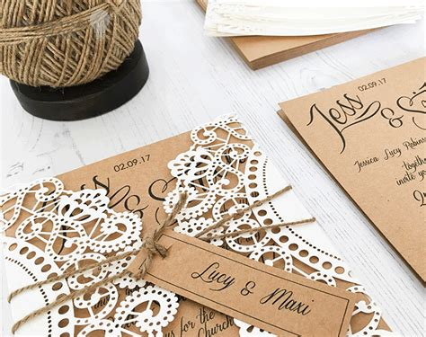 how to make rustic kraft and laser cut invitation with