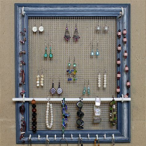 earring hooks jewelry organizer display blue picture frame by