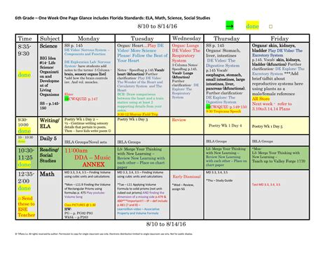 6th Sixth Grade Florida Standards Weekly Lesson Plan
