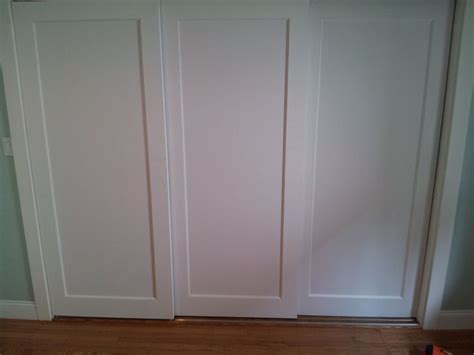 Closet Door Sliding Track by Installed 3 Panel Doors On Custom Sliding Track For