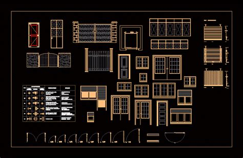 furniture doors  windows  dwg plan  autocad