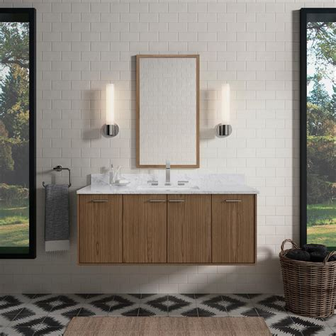 kohler jute    wall hung vanity  walnut flex