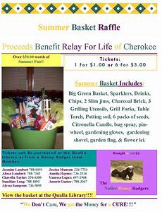 Summer basket raffle relay for life benefit flyer the for Relay for life flyer template