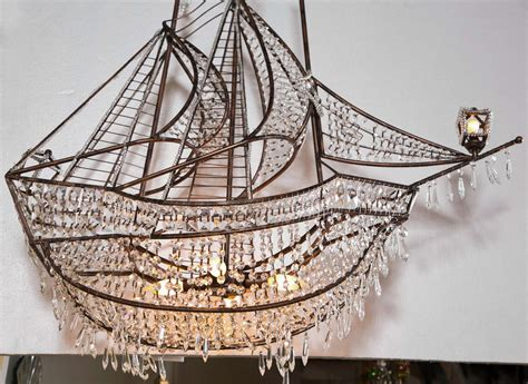 crystal ship hanging light decorative iron and crystal ship chandelier at 1stdibs