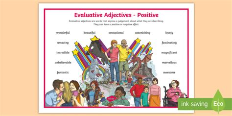Vic * New * Evaluative Adjectives Positive Word Mat