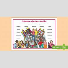 Tas * New * Evaluative Adjectives Positive Word Mat