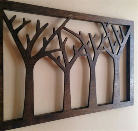tree wall decor wood trees forest wood wall decor rustic home handmade