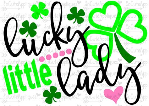 Lucky Little Lady St Patricks Day Svg, Socuteappliques, St