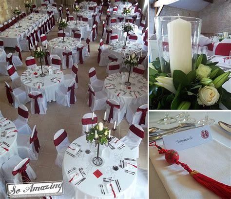 decoration pur  mariage blanc  rouge bordeaux deco