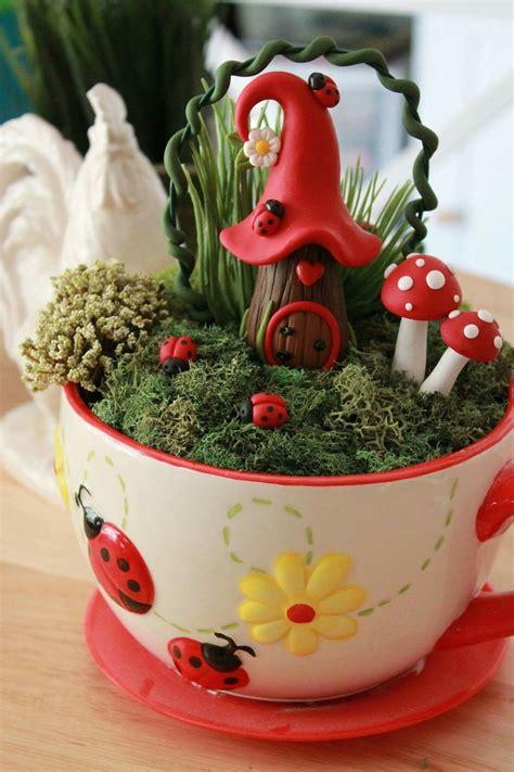 Tea cup fairy garden   สวนจิ๋ว, งานฝีมือ, ไอเดีย diy