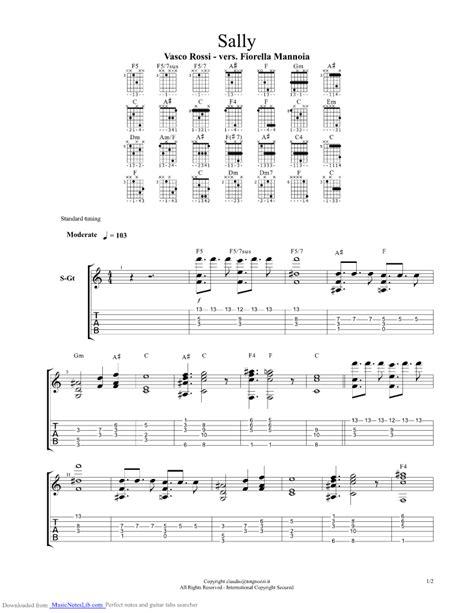 Vasco Dillo Alla Testo Sally Guitar Pro Tab By Vasco Musicnoteslib