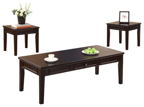 cocktail and 2 end tables espresso finish 3 set