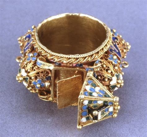 eastern european jewish wedding ring   hinged roof
