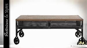 Table Basse Industrielle Avec Tiroir : table basse industrielle sur roulettes en bois et m tal 2 tiroirs int rieurs styles ~ Teatrodelosmanantiales.com Idées de Décoration