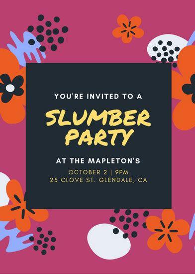 customize  sleepover invitation templates  canva