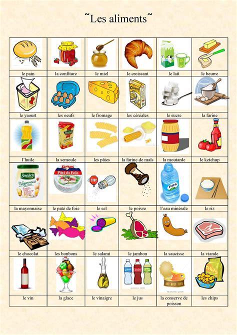 les ecoles de cuisine en vocabulaire des aliments de la nourriture et de la