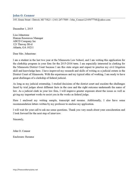 federal court cover letter thank you letter judicial clerkship resume format