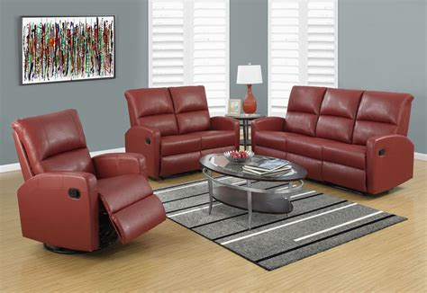 red sectional sofa with recliner red bonded leather reclining sofa 84rd 3 monarch