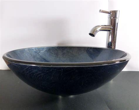 glas waschbecken rund nero badshop aufsatz glas waschbecken rund blau grau 42cm kaufen