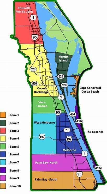 Space Brevard County Map Coast Florida Beach