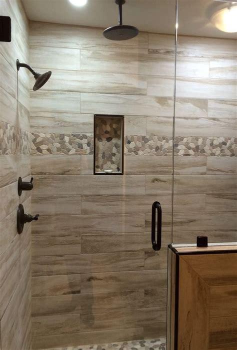 Rustic Bathroom Shower Ideas by Rustic Master Bathroom With High Ceiling Frameless