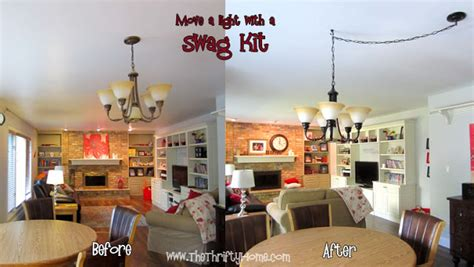 the thrifty home spray painting and moving a light fixture