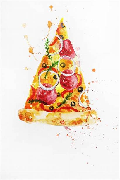 Watercolor Pizza Painting Kitchen Illustration Wall Artwork