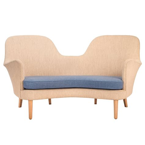 Curvaceous And Comfortable Danish Modern Two Person Sofa