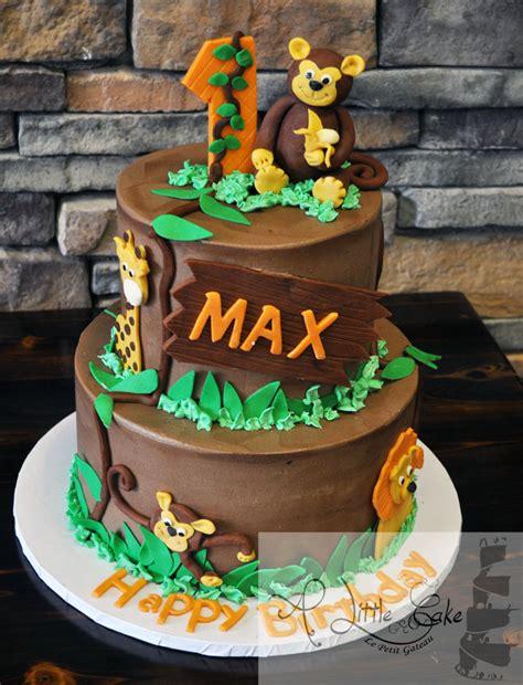 jungle animals st birthday cake