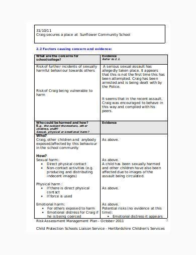 child care risk management plan samples