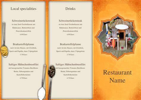 speisekarten und menuekarten indian restaurant trifold