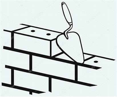 Trowel Brick Wall Clipart Clip Concrete Vector