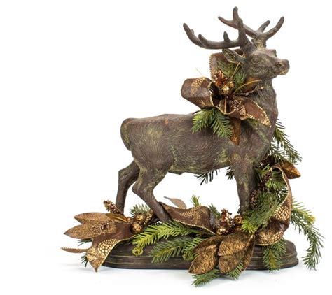 one of a kind brown decorated christmas deer traditional